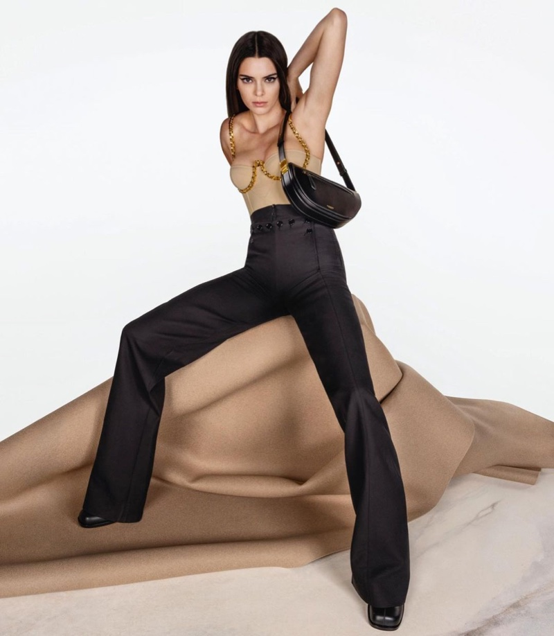 Striking a pose, Kendall Jenner appears in Burberry Olympia bag campaign.