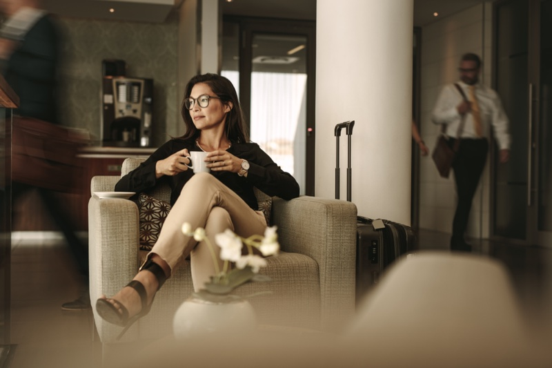 Business Travel Woman Sitting Airport Lounge