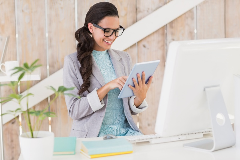 Business Woman Sitting Computer Tablet Happy