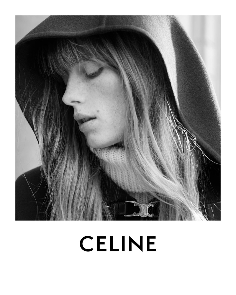 Ready for her closeup, Rianne van Rompaey poses in Celine Les Grand Classiques session 3 campaign.