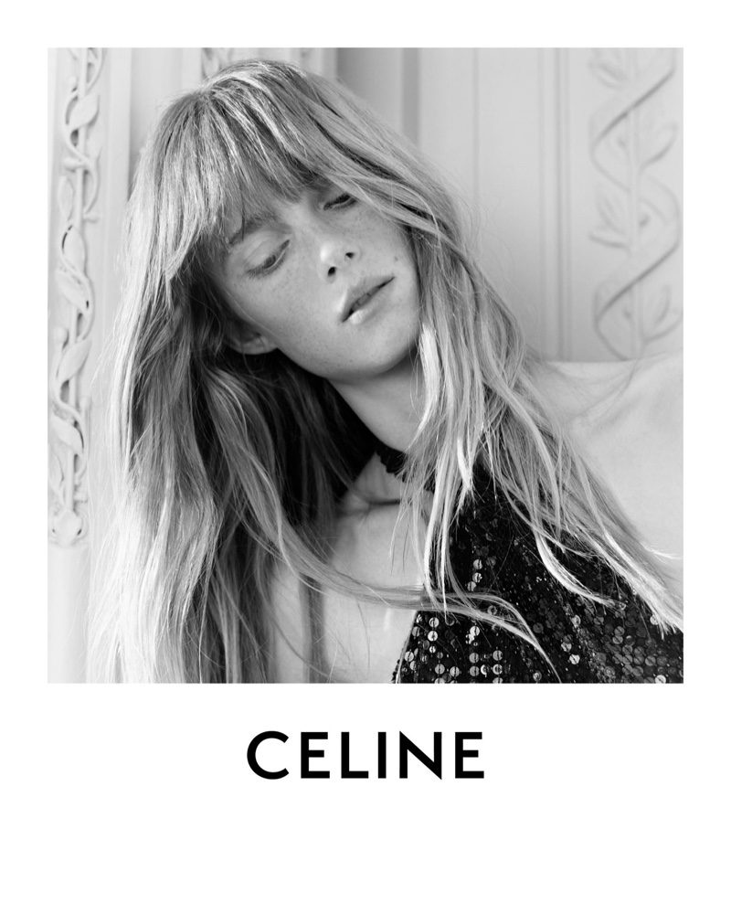 Rianne van Rompaey in Celine Evening Embroidered Draped Dress.