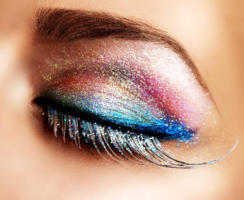 Closeup Long False Eyelashes Glitter Eyeshadow