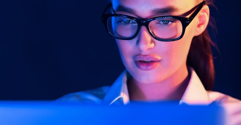 Closeup Model Blue Light Glasses