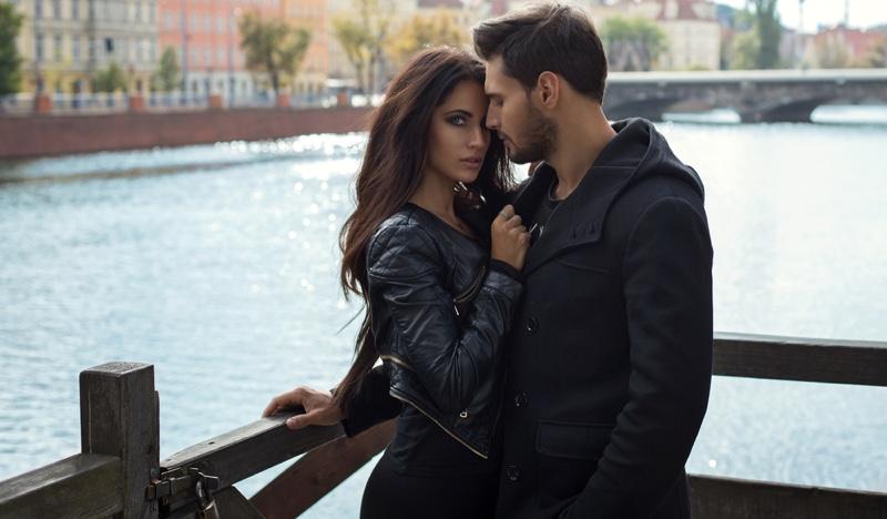 Couple Embracing Romantic Leather Jacket Trendy