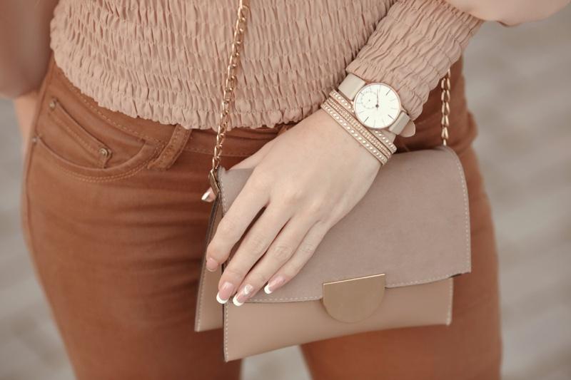 Cropped Woman Outfit Watch Bracelets Flap Bag