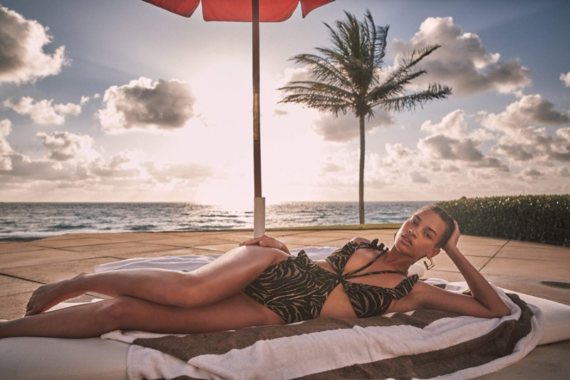 Nisaa Pouncey poses for Devon Windsor Swim spring 2021 campaign.