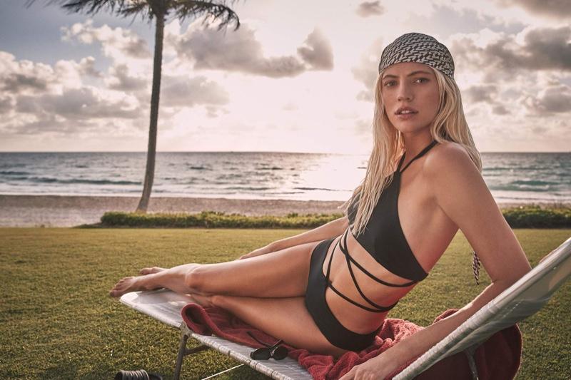 Devon Windsor stars in Devon Windsor Swim spring 2021 campaign.