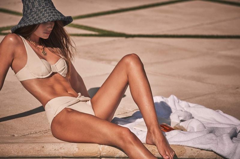 Model Lorena Rae stars in Devon Windsor Swim spring 2021 campaign.