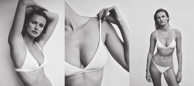 Model Edita Vilkeviciute wears Zara Home ecru textured bikini top and bottoms.