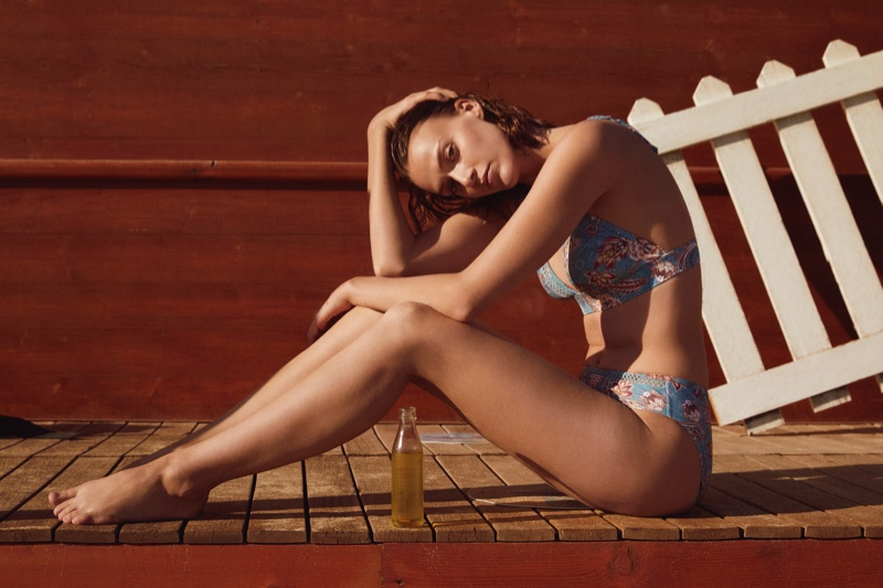 Tess Hellfeuer poses in Esprit's swim spring-summer 2021 collection.
