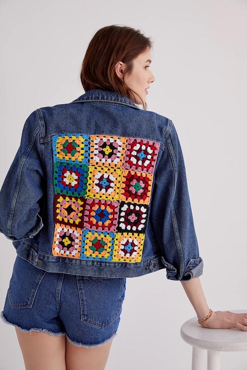 Farm Rio Crochet Denim Trucker Jacket $198