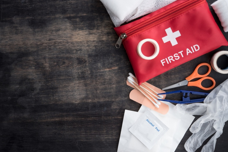 First Aid Kit Laid Out