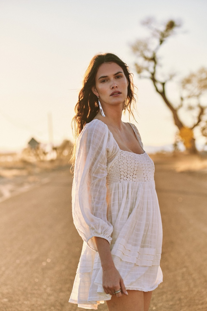 Vanessa Moody poses for Free People May 2021 collection. Photo: Graham Dunn