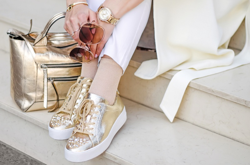 Gold Bag Sneakers Luxury Cropped