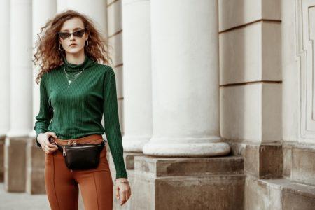 Green Top Brown Pants Belt Bag Trendy Outfit Model