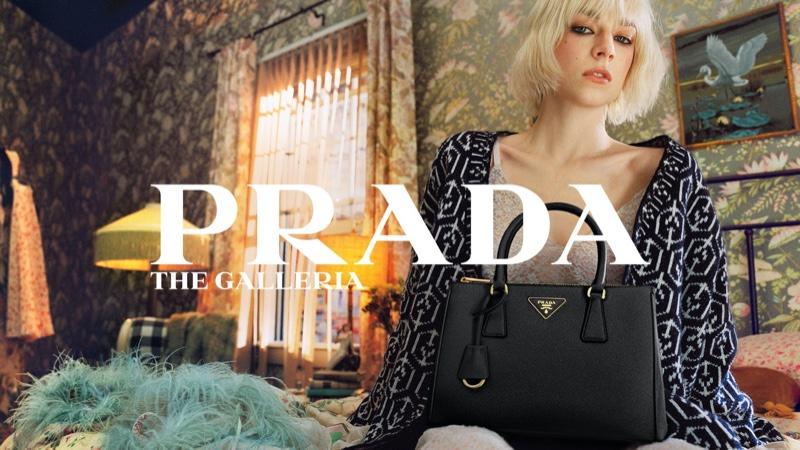 Hunter Schafer stars in Prada Galleria handbag campaign.