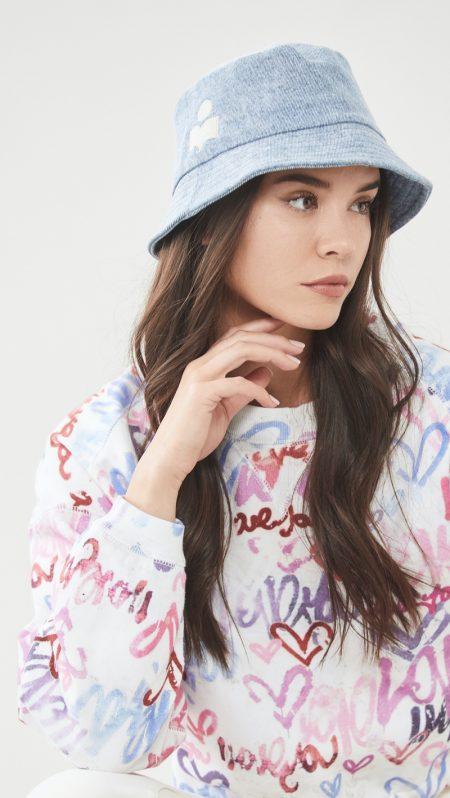 Isabel Marant Haley Bucket Hat in Light Blue $165