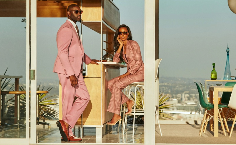 Davidson Petit-Frère and Jasmine Tookes front Oliver Peoples x Frére eyewear campaign.
