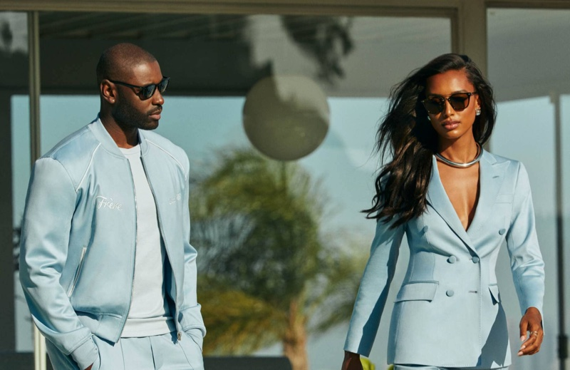 Davidson Petit-Frère and Jasmine Tookes appear in Oliver Peoples x Frére eyewear campaign.