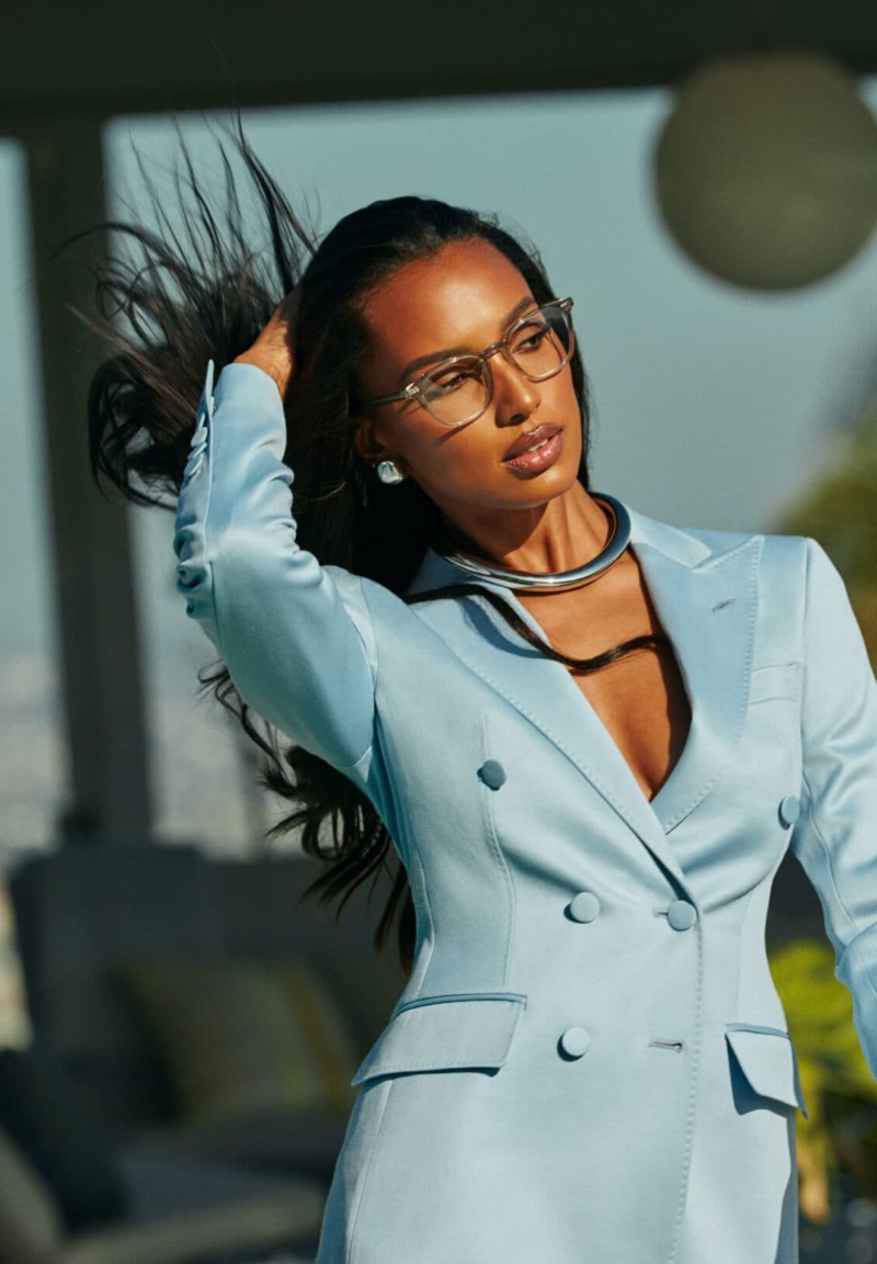 Model Jasmine Tookes wears Oliver Peoples  FRÈRE NY glasses.