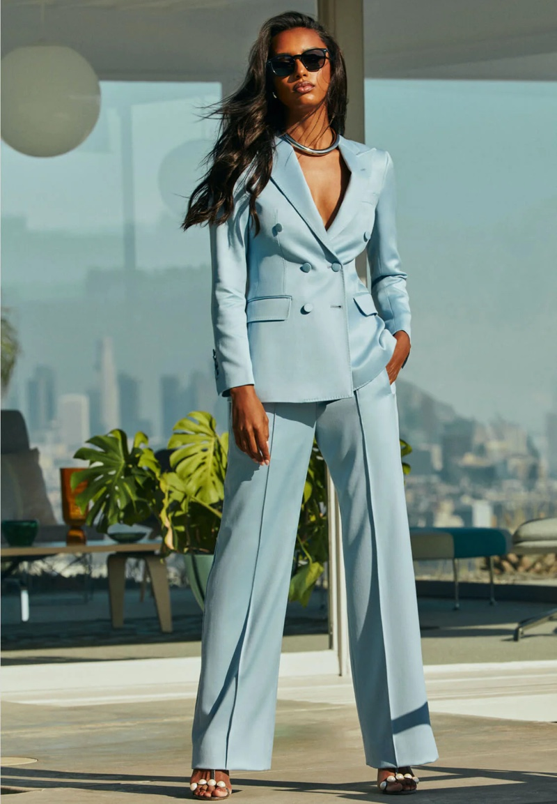 Posing in Los Angeles, Jasmine Tookes fronts Oliver Peoples x Frére campaign.