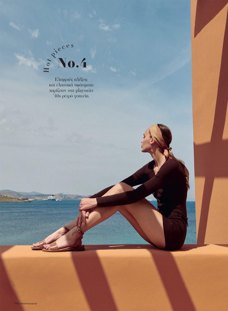 Julia Podlaszewska Poses in Summer Neutrals for Harper's Bazaar Greece