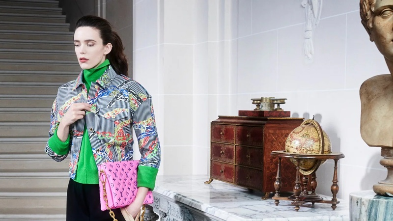 Stacy Martin poses for Louis Vuitton pre-fall 2021 campaign.