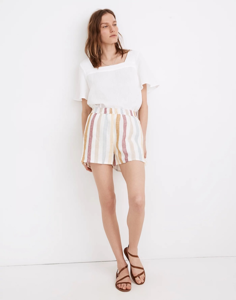 Madewell x LAUDE the Label Everyday Shorts in Painter Stripe $98