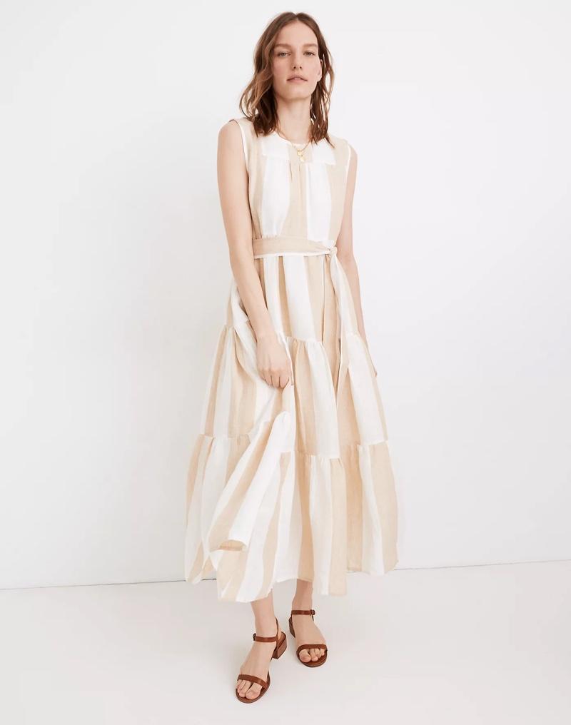 Madewell x LAUDE the Label Organic Linen Tiered Maxi Dress $248