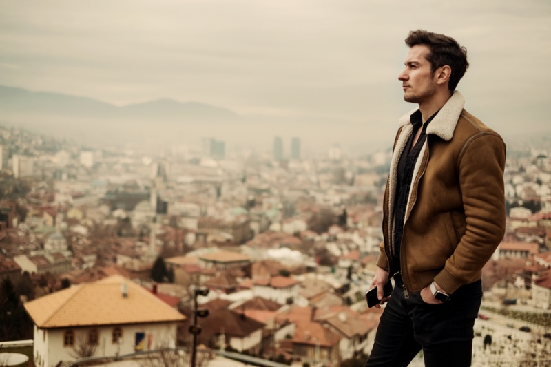 Male Model Brown Shearling Jacket Overlooking City