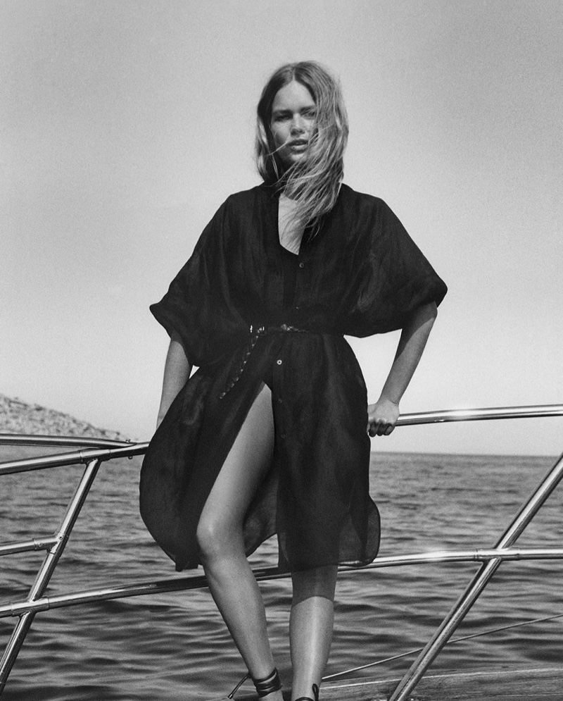 Massimo Dutti Oversize Blouse, Swimsuit with Low-Cut Back, and Tied Leather Flat Sandals.