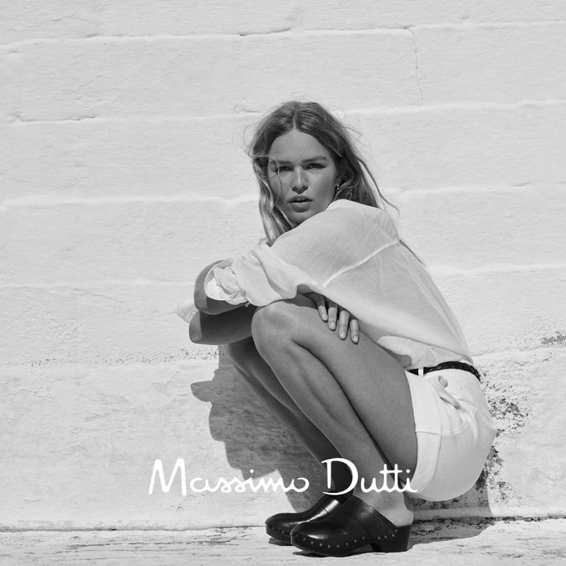 Massimo Dutti Plain 100% Linen Shirt, Knit Linen Blend Shorts, and Leather Clogs.