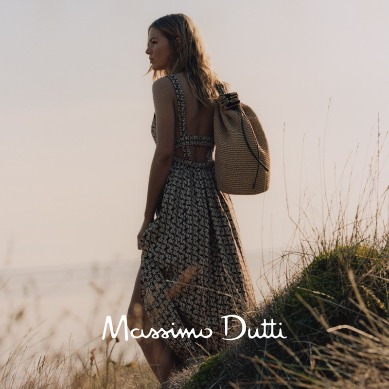 Massimo Dutti Long Geometric Print Dress, Tied Leather Flat Sandals, and Raffia Crossbody Bag with Leather Trims.