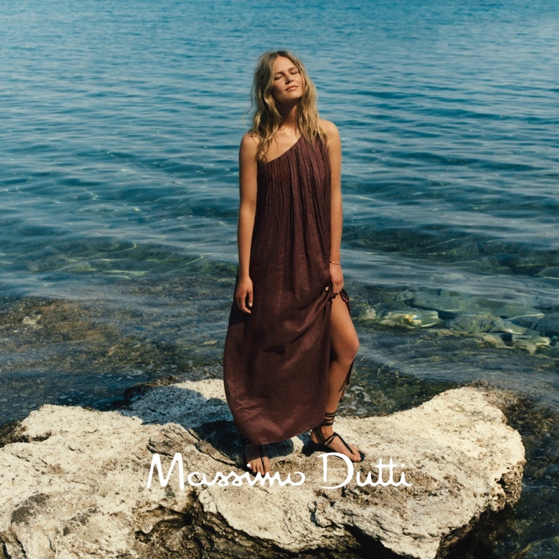 Massimo Dutti Asymmetric Dress and Tied Leather Flat Sandals.