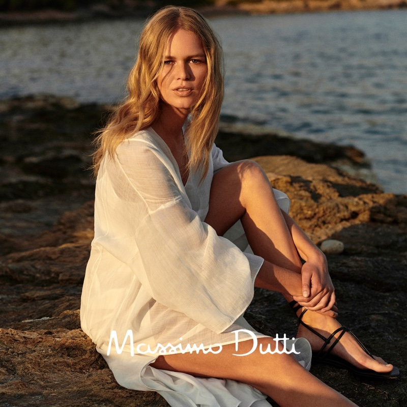 Anna Ewers models Massimo Dutti kaftan.