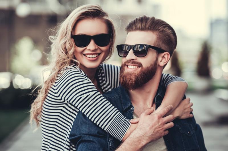 Model Couple Sunglasses Boyfriend Beard Blonde Girlfriend