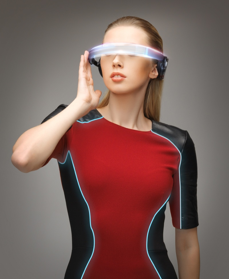 Model Futuristic Glasses Technology