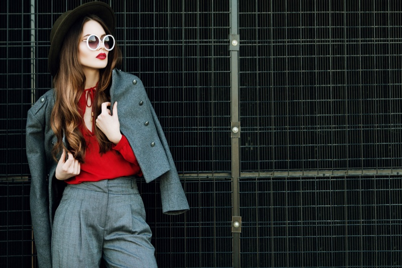 Model Grey Pant Suit Red Top Outfit Stylish