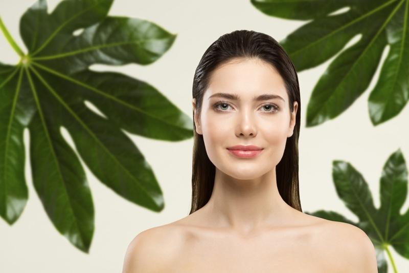 Model Natural Beauty Green Leaves Backdrop