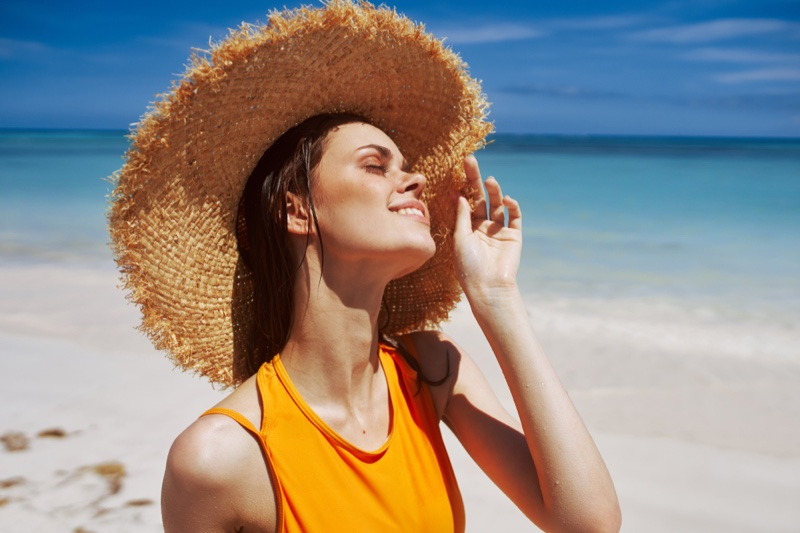 Model Summer Beach Straw Hat Orange Top