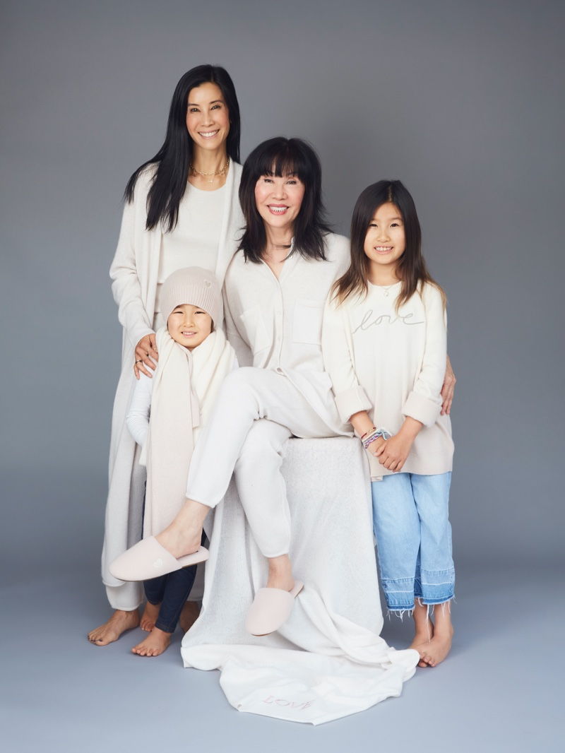 Lisa Ling poses with her mother Mary Ling and children Jett and Ray for Naked Cashmere LOVE campaign.