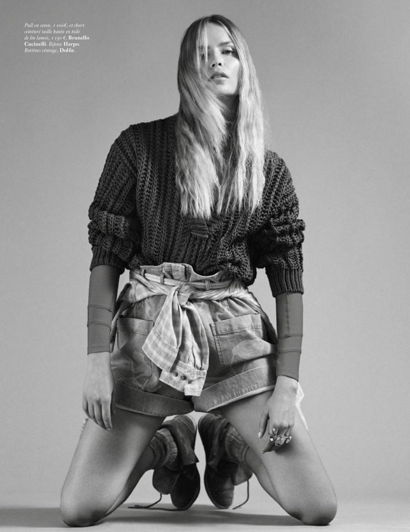 Natasha Poly Rocks Casual Denim Looks for Vogue Paris