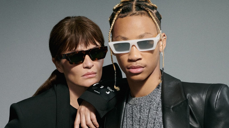 Supermodel Helena Christensen and musician Lil Dre pose for Off-White eyewear summer 2021 campaign.