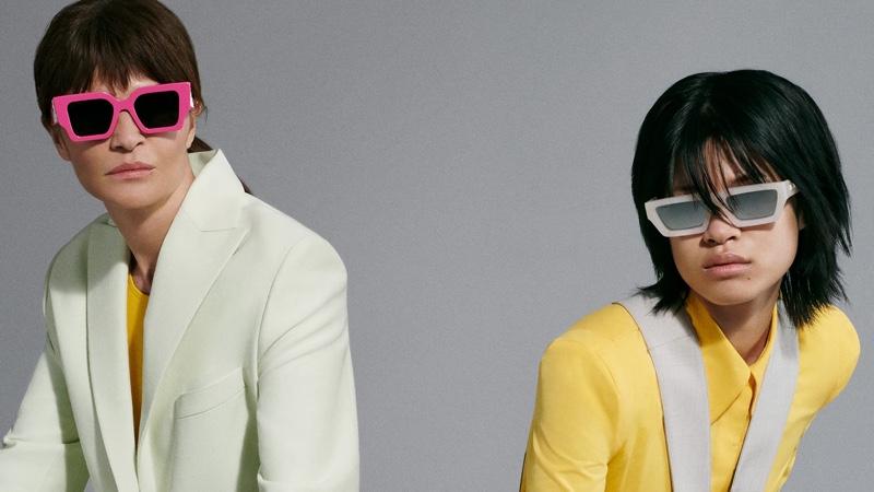 Helena Christensen and Justine Biticon front Off-White eyewear summer 2021 campaign.