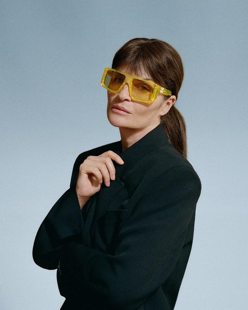 Helena Christensen fronts Off-White eyewear summer 2021 campaign.