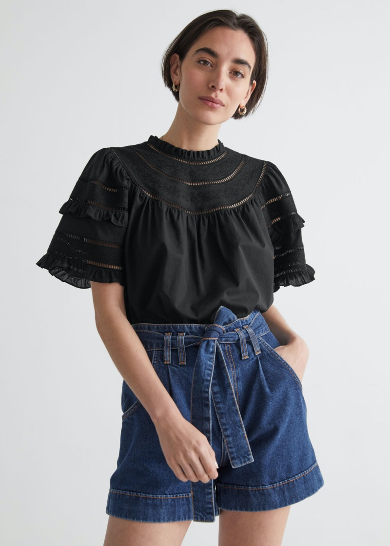 & Other Stories Embroidered A-Line Ruffle Top in Black $69