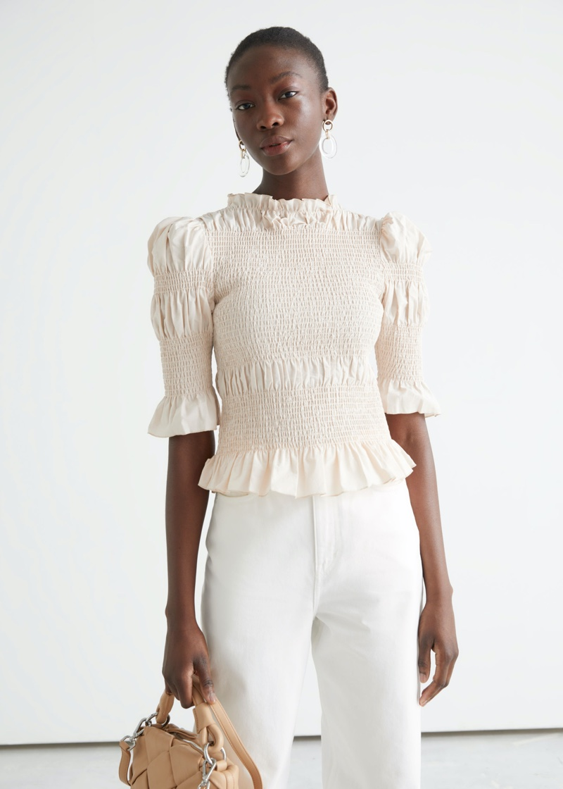 & Other Stories Fitted Smocked Ruffle Top $89