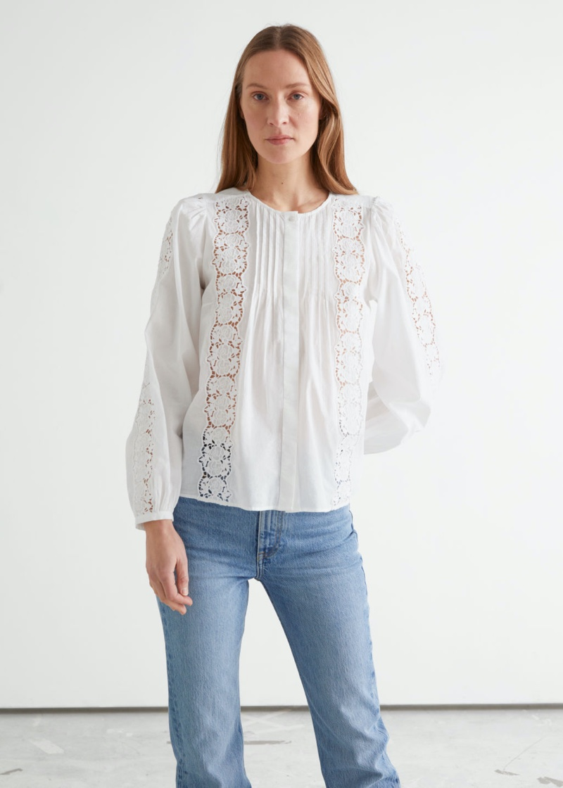 & Other Stories Floral Lace A-Line Blouse in White $99