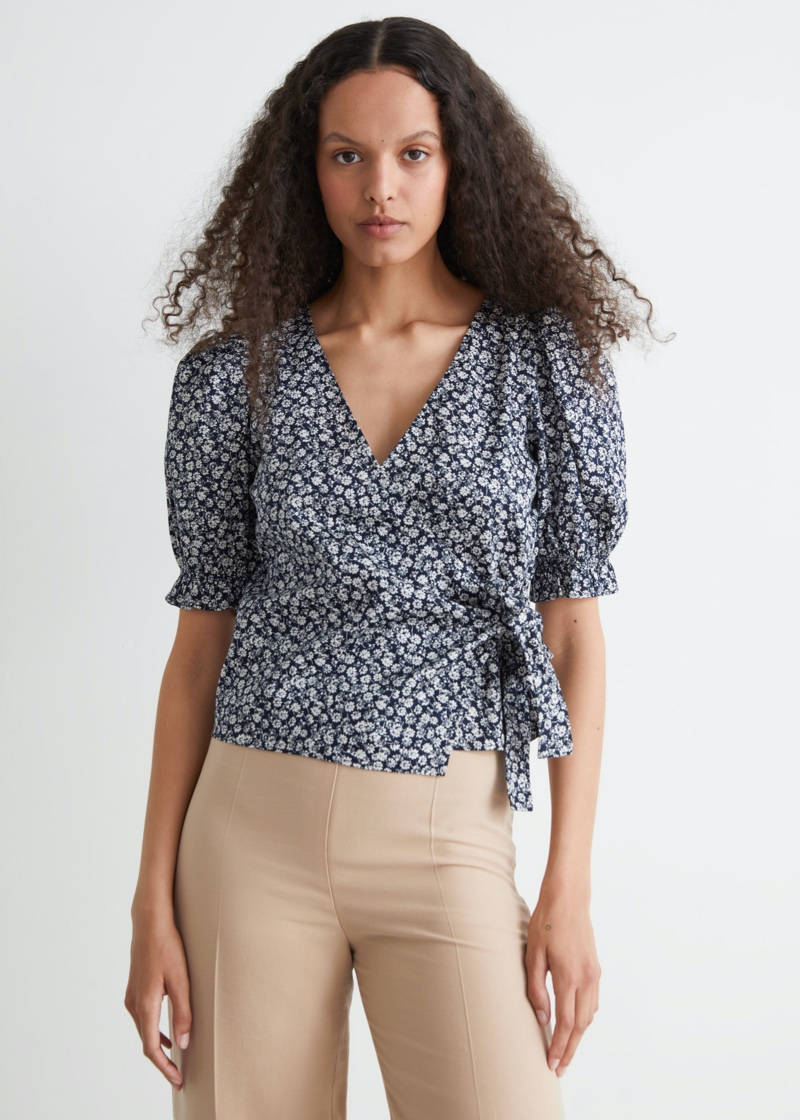 & Other Stories Floral Print Wrap Blouse $69