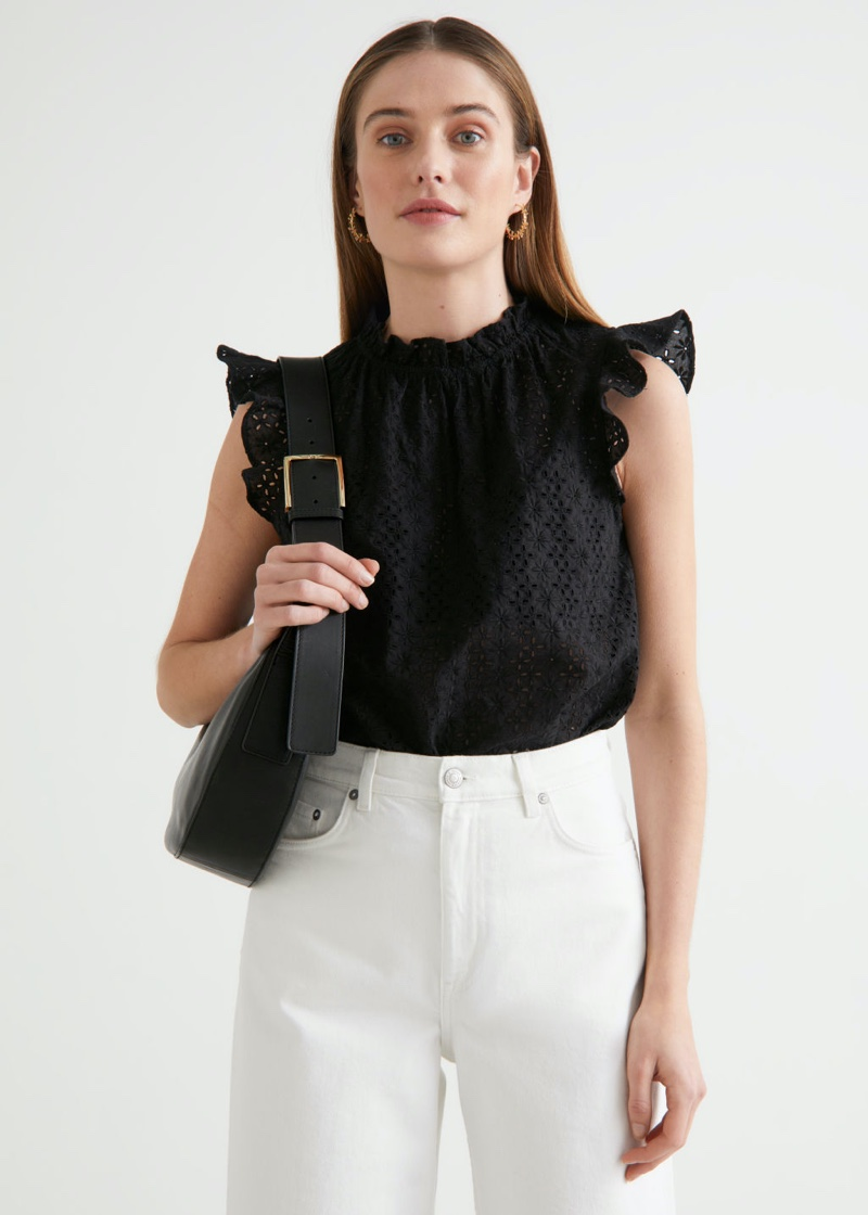 & Other Stories Frilled Broderie Anglaise Blouse in Black $59